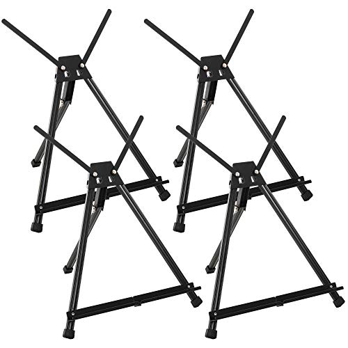 U.S. Art Supply 15' to 21' High Adjustable Black Aluminum Tabletop Display Easel (Pack of 4) - Portable Artist Tripod Stand with Extension Arm Wings, Folding Frame - Holds Canvas Paintings Books Signs
