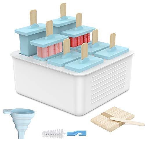 Eisformen Silikon Separates Design Formen : 8 BPA Frei Popsicle Eisform Eis am Stiel Silikon 20 Holzstielen Wassereis Formen mit Reinigungsbürste & Falttrichter,schöne Geschenkbox
