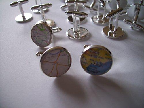English Gems 10 paires de personnalisé carte/photo Boutons de manchette en velours avec boutons de manchette Boîtes