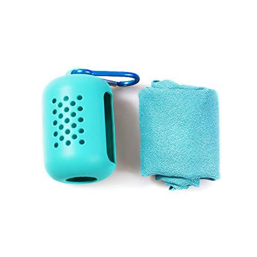 Houkiper Sporthandtuch, tragbares, schnelltrocknendes Sporthandtuch Mini-Handtücher mit Silikonhülle für Camping-Picknick (Hellblau)