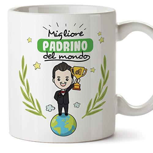 Mugffins Padrino Tazza/Mug - Migliore Padrino del Mondo - Idea Regalo Giorno di Pasqua/Battesimo - Tazza Miglior Padrino in Ceramica. 350 ml