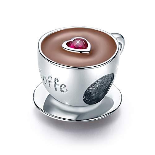 Ciondolo a forma di tazzina di caffè, con cuore, con zirconia cubica, compatibile con braccialetti e collane Pandora, in argento Sterling 925