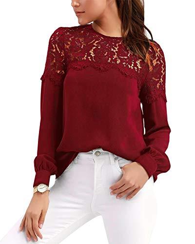 SUNNYME damskie koronkowe szyfonowe topy koszula z długim rękawem bluzki na co dzień do pracy bluzki i topy dla kobiet