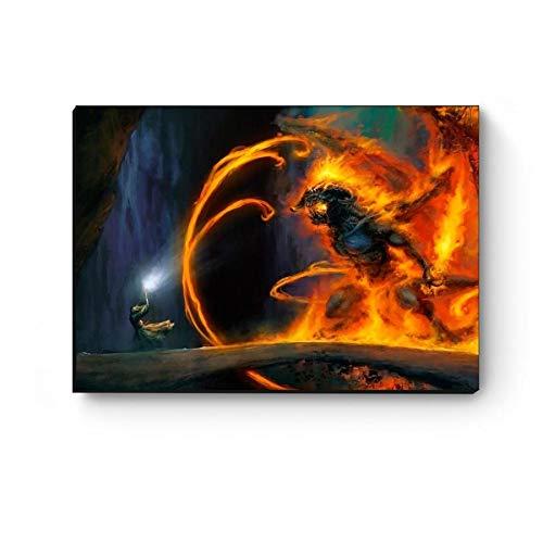 Quadro decorativo A4 Senhor dos anéis Gandalf vs Balrog