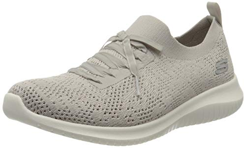 Skechers Damen Ultra Flex Sneaker, Beige (Taupe Mesh/White Trim TPE), 38 EU