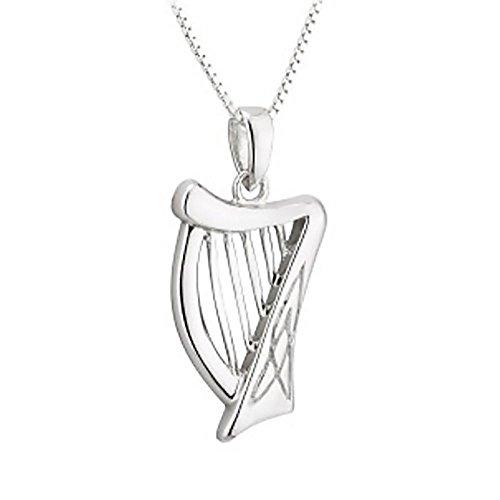 Irish Harp Kette & Anhänger - Keltische Harfe - Sterling Silber aus Irland
