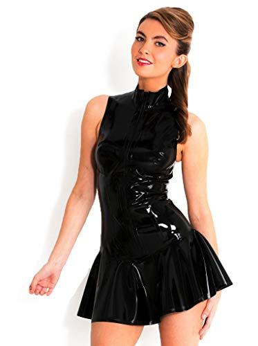 Boowhol Sexy Damen Lackleder Kleid Rock sexy Dessous Minikleid Clubwear rückenfrei Club Anzug Enge Kleidung Party-Kleidung, M, Schwarz