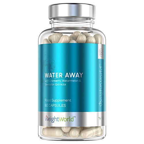 Premium Water Away Wassertabletten - Hochdosierte Entwässerungstabletten gegen Wassereinlagerungen - Natürliche Diuretika zur Entwässerung des Körpers - Für Kur, Diät & Reinigung - 60 Kapseln Vegan