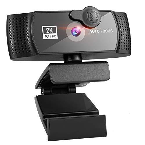 Webcam 2K mit Abdeckung, FHD Webkamera mit Autofokus/2 Stereo Mikrofon/120° Sichtfeld/Belichtungskorrektur, USB Kamera für Videochat/Aufnahme/Live Streaming/Konferenz/Windows/Mac/Android