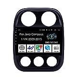 Android 10 Car Stereo 9 Pulgadas Pantalla Tactil para Coche Multimedia Navegación GPS para Jeep Compass 1 MK 2009-2015 4 Cores 2G+32G con Pantalla Coche Conecta Y Reproduce Bluetooth Video