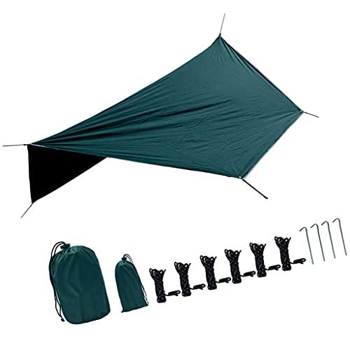freneci 360x280CM Camping Hängematten Plane, Wasserdichter Winddichter, Leichter, Langlebiger Regenschutz. Perfekte Zeltplane für Rucksackreisen, Wandern Und - Dunkelgrün