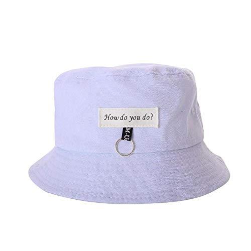 Bucket Hat Chapeau Mode Femmes Mignon Été Soleil Chapeau Cercle Seau Casquette Décontracté Anneau Décor Hip Hop Fille Garçon Étudiant Parasol Pêche Casquette Bleu