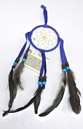 All Tribe Silver Dream Catcher Native American Authentic Navajo Handmade 12' L x 3' Dark Blue Made in USA
