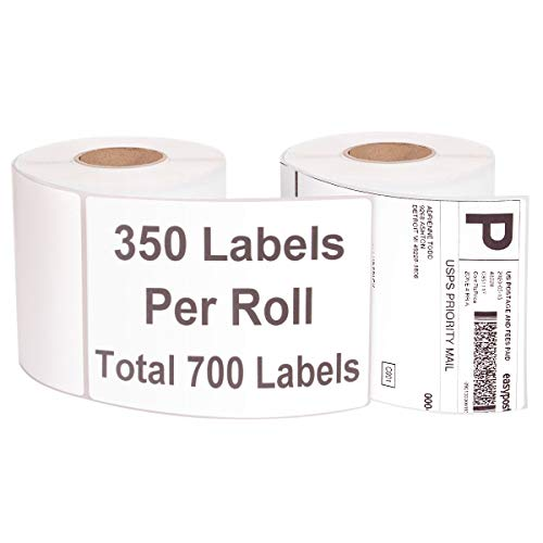 """4"""" x 6"""" Thermal Shipping Labels, 700 Labels Self Adhesive Labels Blank Direct Thermal Label Compatible with Zebra 2844 Zp-450 Zp-500 Zp-505 Printers for Postage Address Labels, 350 Labels/Roll, 2PCS"""