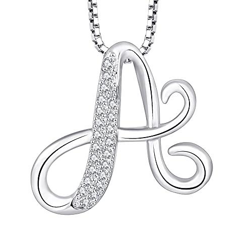 Starchenie Collar con letras A-Z 26, exquisito colgante, joyería femenina simple, plata de ley 925, chapada en rodio, circonio blanco redondo para mujeres