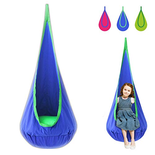 Harrage Kids Swing Pod Chair 100% Cotton Hammock Pod with Durable Air Cushion for Child, Hanging Seat Nook Tent Strong Hammock Nest for Indoor and Outdoor Reading Book Rest(Blue)