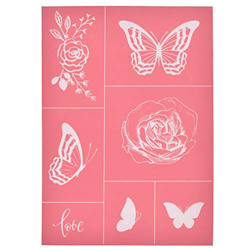 YeulionCraft Self-Adhesive Silk Screen Printing Stencil Mesh Transfers for DIY T-Shirt Pillow Fabric Painting Paper Decoration, Butterfly and Flower