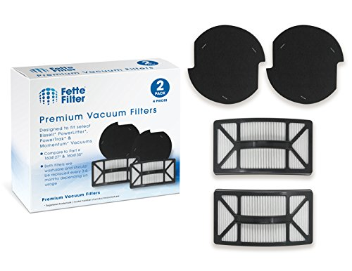 Fette Filter - Bissell Compatible with Powerlifter & PowerTrak Pet Filter Kit. Contains Pre Motor 1604127 Filters and Post Motor 1604130 Filters. (Pack of 2)