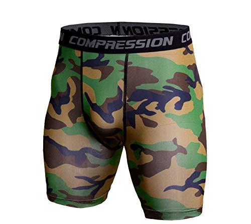 Ducomi Mallas cortas de compresión para hombre – Pantalones de running fitness – Mallas elásticas para niño – Ropa deportiva transpirable y ligera Camuflaje S