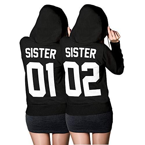 Sister Pullover mit individueller Nummer - Personalisiertes Sister Pullover Hoodie Set - Best Friends Beste Freundin Pullover Schwarz (Sister XS + Sister M)