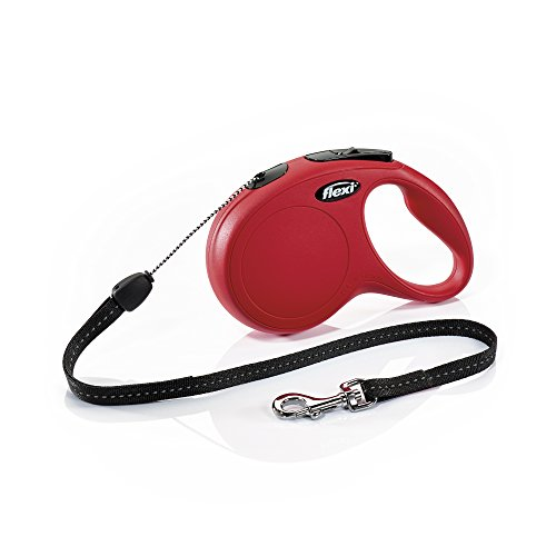 FLEXI New Classic Retractable Dog Leash (Cord), 26 ft, Small, Red