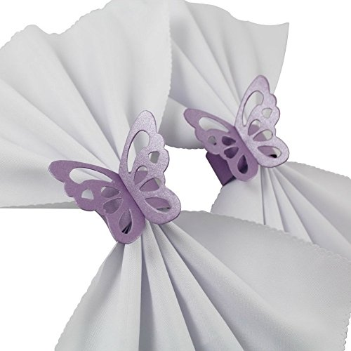 Sorive Pack of 50 Butterfly Paper Napkin Rings For Wedding Party Decoration (Lavender / Lilac / Light Purple)