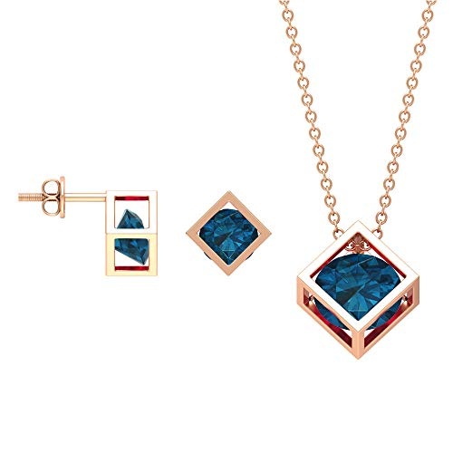 Juego de joyas de topacio azul de Londres de 3 quilates, colgante de oro con pendientes, collar solitario y pendientes, 14K Oro rosa, topacio azul - london