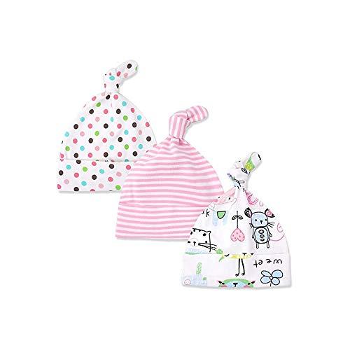 Bebé recién nacido sombrero, gorra de ganchillo de punto para bebés, traje ajustable Beanie sombrero de (0-6 meses)