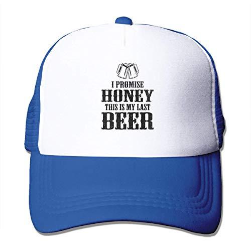 NA Ik Beloof Honing Dit is Mijn Laatste Bier Mesh Baseball Caps Trucker Hoeden Unisex Blauw