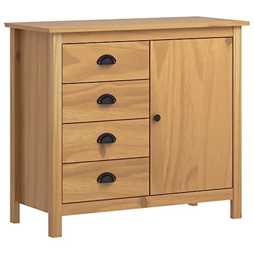 Dioche Aparador moderno para salón, con 4 cajones y 1 puerta, mueble cómoda de madera maciza de pino, 91 x 40 x 80 cm, color marrón miel
