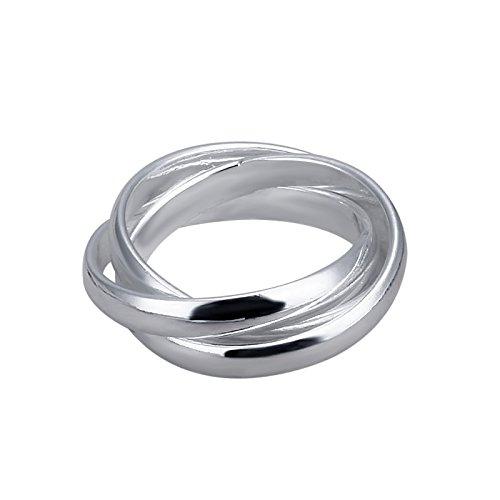 Hanessa Knoten-Ring in Silber versilbert Mädchen Damen-Schmuck 3 Ringe in Einem Ring Geschenk für die Ehe-Frau/Freundin/Frauen