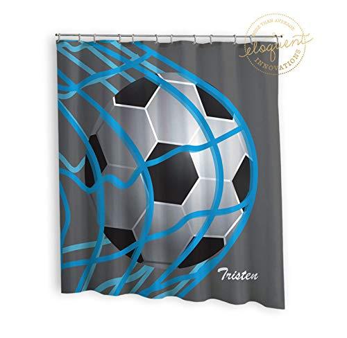 Thomas655 Fußball Duschvorhang Sport grau-blau Fußball Duschvorhang Jungen oder Mädchen Personalisiert