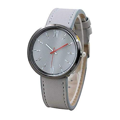 Venta de liquidación, WSSVAN Escala romana caliente punto de dial grande correa de la manera del diamante reloj tendencia cuarzo estudiante reloj casual clásico negocio reloj femenino (gris)