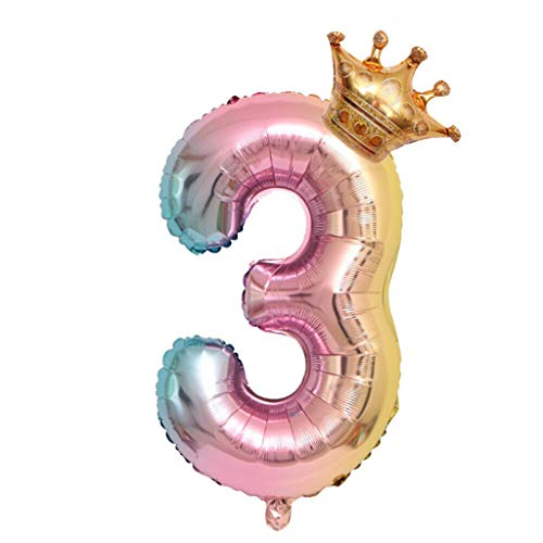 QIUUE Gradient Color Digital Balloon Children's Birthday Digital Aluminum Balloon Crown Number Foil Balloons Number Ballon Birthday Party Decoration 32 Inch