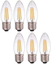 KLED 6Pack LED Vintage Edison Bulb, Dimmable, C35 4W (40W Equivalent), LED Filament Bulb, 350 Lumen, 2700K (Warm White), B...