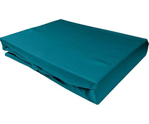 Bettwaesche-mit-Stil Mako Satin Spannbettlaken Spannlaken Spannbetttuch (180 cm x 200 cm, Matratzenhöhe 12-20 cm, Petrol Blau)