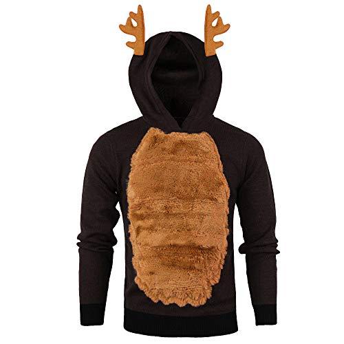 manadlian Pull Homme Noel Hooded Sweatshirt 3D Imprimé Sweat à Capuche Manches Longues Mince Christmas Cordon de Serrage Blouse Plus Velours Veste de Sport Pas Cher Sweatshirt Long