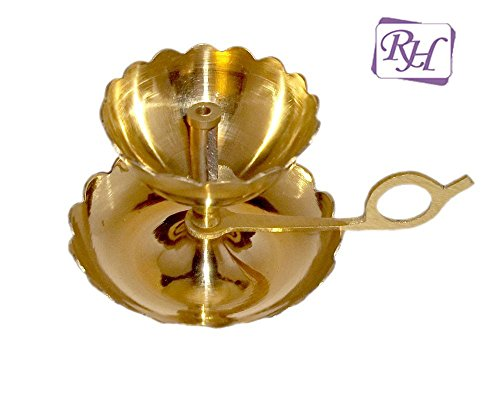 Rastogi Handicrafts Brass Aarti & Diya in One with Supported Flame
