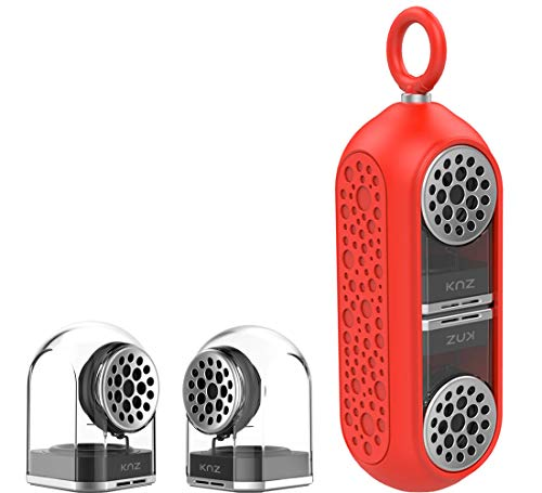 KNZ GoDuo Portable Bluetooth Speakers with Magnetic Connectable Base, L/R True Stereo Sound and Bass, Water and Shock Resistant, 18 hr playtime, Built-in Mic, Protective Carrying Case Included (Red)