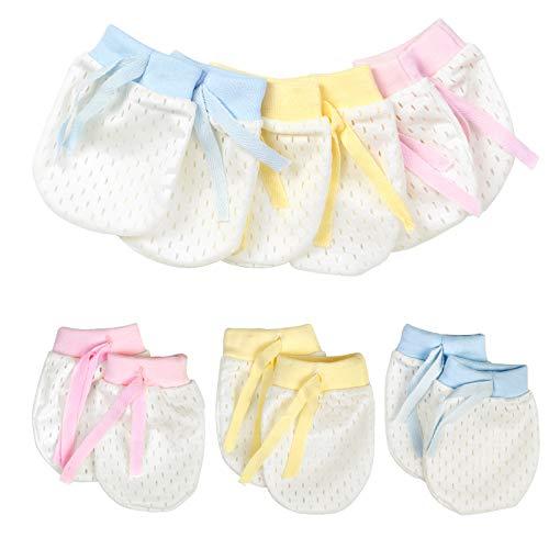 6 Paar Neugeborene Kratzhandschuhe Fäustlinge Baby Baumwollhandschuhe Anti Scratch Handschuh Säugling Kratzfäustel Infant Kleinkind Jungen Mädchen Kratzfäustlinge für Baby Care(4-12 Monaten)