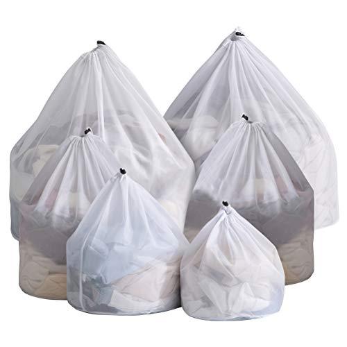6 bolsas de malla fina reutilizadas para lavadora, bolsas de lavado de red duraderas para ropa delicada, medias, blusa, ropa interior, sujetador, ropa de bebé