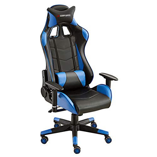 JL Comfurni Gaming Chair Office Desk Chair Ergonomic Swivel PC Computer Chairs Heavy Duty Recliner High Back with Lumbar Cushion (Black&Blue)