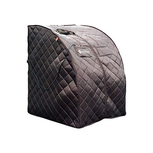 HEATWAVE BSA6315 Harmony Deluxe Oversized Portable Sauna, Cabin Size: 33.5-in L x 33-in W x 41.5-in H Folded: 41.33-in L x 33-in W x 5.11-in H, Dark Brown