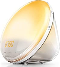 Philips HF3531/01 Wake-Up Light (Sonnenaufgangfunktion, Touchdisplay, 7 Wecktöne, digitales FM Radio, Tageslichtwecker)©Amazon