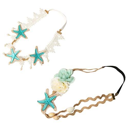 Lurrose Seashell Lace Hairbands Ocean Sea Star Shell Headbands 2pcs Elastic Flowers Forehead Hairband Mermaid Hair Band Hair Accessories for Women Bridal
