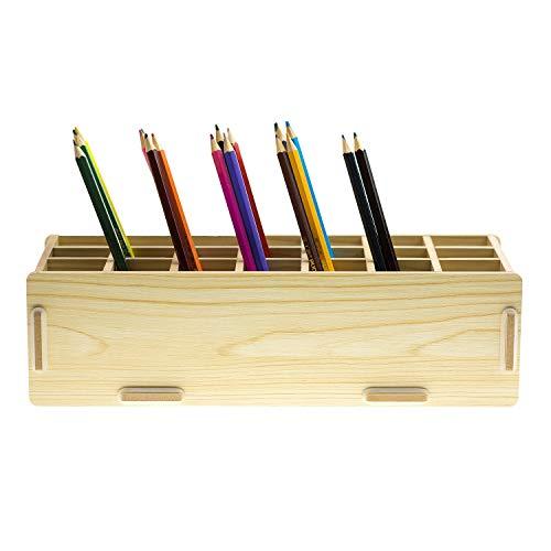 Chris.W Wooden 21-Compartment Artist's Pencils Pens Holder Wood Desktop School Office Supply Caddy Organizer(Beige)