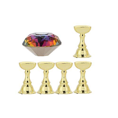 Soporte de exhibición de Arte de uñas, Soporte de uñas magnético Base de exhibición de práctica de Cristal de acrílico con Soporte de aleación Puntas de uñas para Manicure Nail Salon