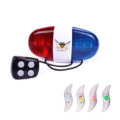 Kuiji 6 LED Lights Electronic Cycling Bike Electric Horn Bicycle Police Siren Bell - 5 Sounds (Spoke Light)