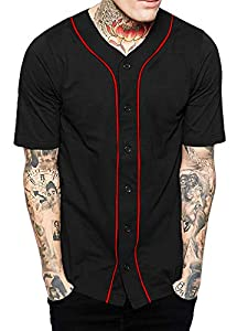 Hat and Beyond Mens Baseball Button Down Jersey (01up01_Black/Red,Medium)