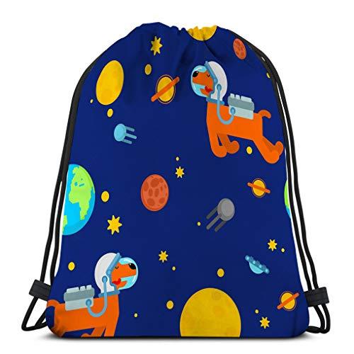 Jiuerlius3 Drawstring Backpack Sports Gym Bag for Women Men Dog Astronaut Space Pattern Pet Spaceman Puppy Cosmonaut Costume Universe textire Dog Astronaut Space Pattern